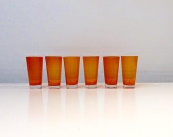 Vintage Orange Glasses, Vibrant Orange, Set of 6