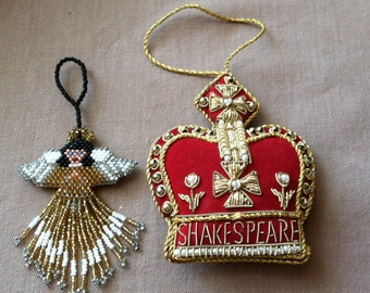 """Vintage 60's   """"BEADED ORNAMENTS"""" Two Beautiful Hand Crafted Christmas Ornaments"""