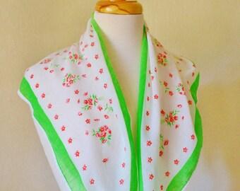 Vintage Cotton Headscarf Scarf Triangular Green light Red Roses Feminine Fashion 1970s
