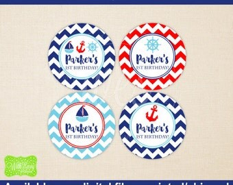 Nautical Birthday Stickers - Nautical Gift Stickers - Sailing Thank You Stickers - Sailing Favor Stickers -  Digital & Printed