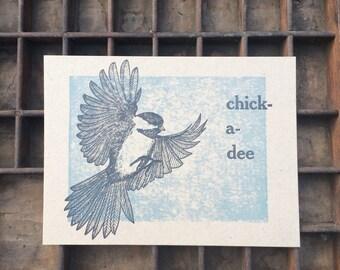 Chickadee Letterpress small Art Print, bird folk art, small poster, nature ornithology gift, 5 x 7, bird illustration, songbird call