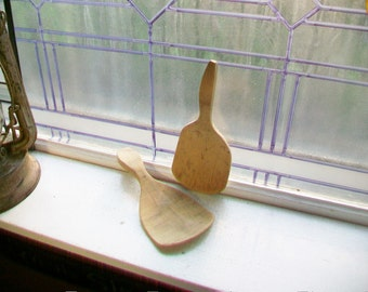 Pair of Wooden Butter Paddles Antique Farmhouse Kitchen Decor