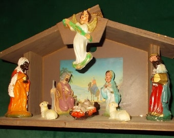 Nativity Set Vintage Christmas Decor Old Nativity Creche 9 Piece Nativity  Stable U0026 Figurines Wood Stable