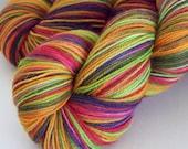 Hand Painted Corriedale, Nylon Sock yarn, 434 yards, 3ply, fingering weight, SuperWash