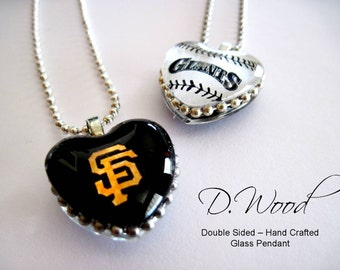 Two-Sided Pendant, Necklace, Sf Giants, HEART, Glass Cabochon, Sport, San Francisco, glass Gem, Giants Fan