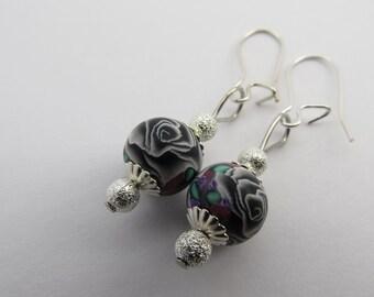 Earrings, Rose earrings, rose earrings, Rose jewelry, black rose earrings, silver plated, handmade earrings, unique earrings, handmade