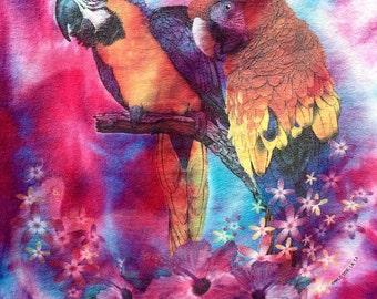 Vintage 1990s Tie Dye Rainbow Parrot Floral Trippy Psychedelic Acid LSD T Shirt Sz S
