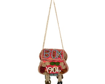 1906 Iroquois Beaded Box Purse // Antique Native American Niagara Falls Souvenir // Heavily Beaded Bag with Fringe
