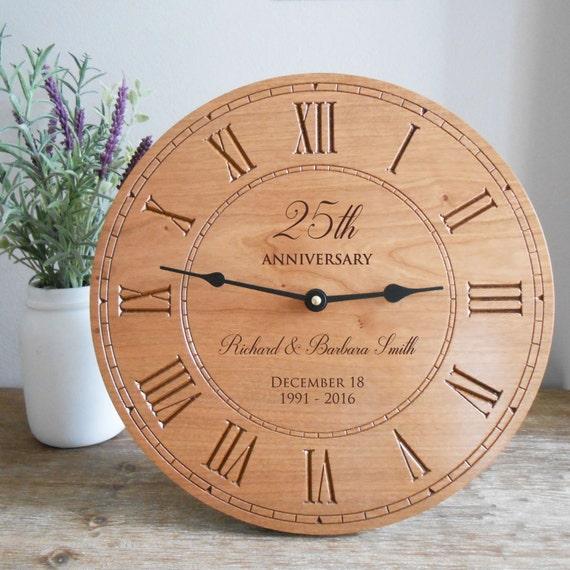 Wedding Clock Gift: Personalized Anniversary Wood Clock: Milestone Anniversary