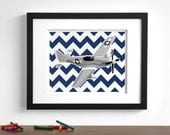 Baby boy nursery art - vintage modern airplane art print - P51 Mustang - pick your colors - plane aircraft - children's art print
