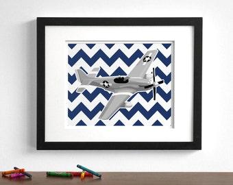 Baby boy nursery art - vintage modern airplane art print - P51 Mustang - pick your colors - plane aircraft - children's art print
