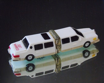 Just Married Trinket Box Limo Car I Do Pill Box Retired PHB Collection Porcelain Hinged Box Wedding Decor Midwest of Cannon Falls