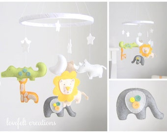 Baby Mobile - elephant  Mobile -  giraffe mobile - Custom Mobile - Baby Mobile - You can pick your colors :)