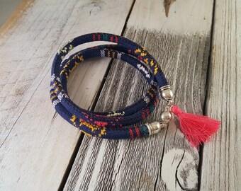 Dark Blue & Multicolor Tribal Pattern Wrap Bracelet
