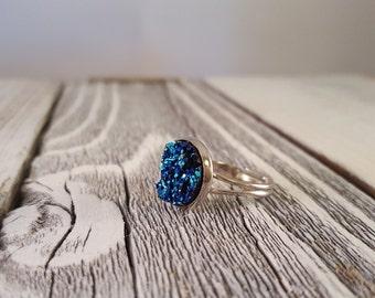 Electric Blue Faux Druzy Ring