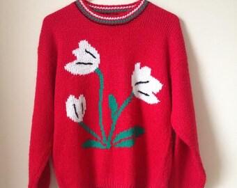 Gotham 80s Floral  Vintage Sweater