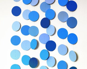 Shades of blue garland in cardboard circles - wedding party, baby shower decoration, birthday party