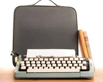 1960s Blue Mini Portable Typewriter