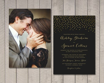 Gold Luxe Wedding Invitation (Printable) DIY by Vintage Sweet