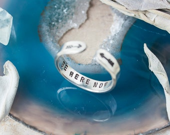 Be here now sterling silver secret message ring. Silver hand stamped quote ring. Inspirational quote ring. Skinny stacking ring. RTS RS010