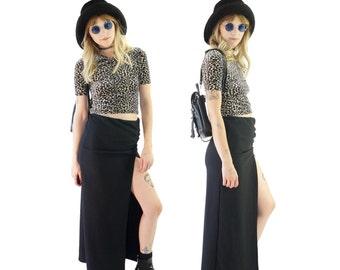 High Slit 90s Venus Maxi Skirt, 90s Cyber Girl, Club Kid, High-Waisted Vintage Maxi Skirt, Women's Size Small