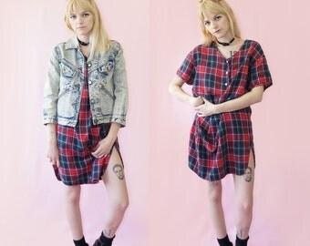 Plaid Flannel 90s Pullover Dress, 90s Grunge Mini Dress, Vintage Flannel, High Slit, Women's Size Small/Medium