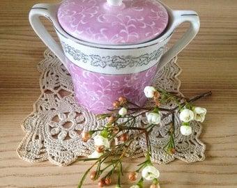 Vintage Pink and White Sugar Bowl