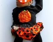 Baby Girl Halloween Costume Outfit Bloomer set Newborn Girl Pumpkin Costume Complete Set