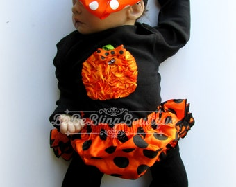 Baby Girl Halloween Costume Outfit Bloomer set Newborn Girl Pumpkin Costume Complete Set