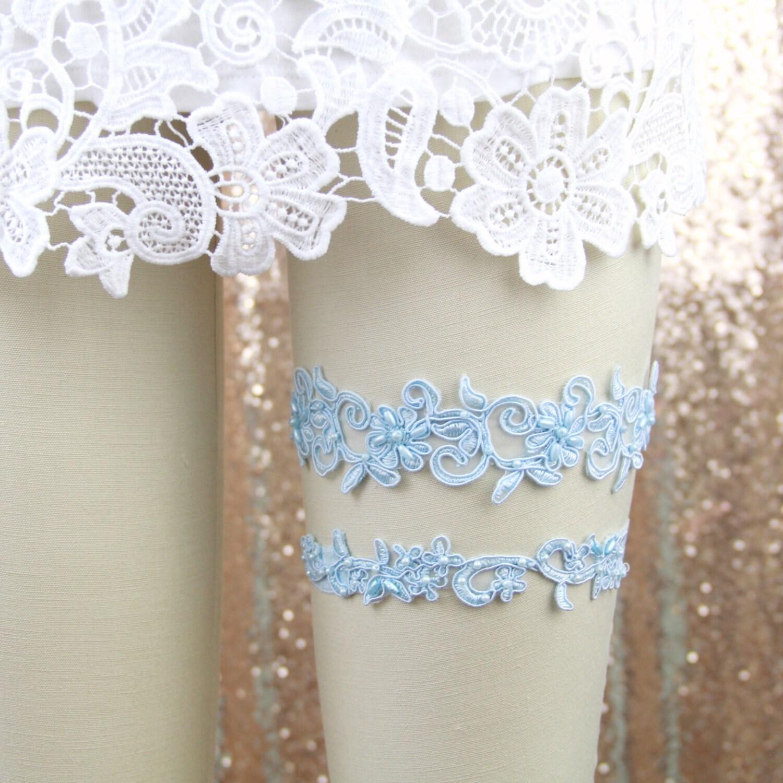 Wedding Garter SetLight Blue Beaded Lace Wedding Garter Set