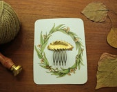 Hair Comb Large Golden Fern, woodland vintage style brass fern frond, Goddess Collection