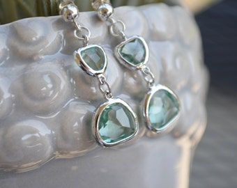 Light green Erinite glass teardrop earrings, modern, pale green, faceted, dangling, bridal party, gift under 20