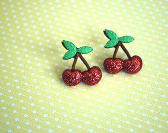 Cherry Earrings -- Red Cherry Earrings, Cherry Studs, Witty Earrings