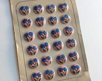 Vintage 60s flower plastic button hand painted