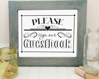 Printable wedding guestbook sign, 5x7 elegant wedding sign, wedding decor, instant download