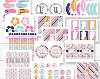 """INSTANT DOWNLOAD Flip Flops """"Flower Luau"""" Summer Digital Printable Birthday Party Package"""