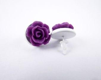 White and 3D Purple Rose Stud Earrings - Vintage, Rockabilly, Psychobilly - Poofhawk
