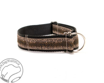 "T is for Tigger Dog Collar - 1.5"" wide (38mm) - Martingale or Quick Release - Choice of style and size // brown // black // tan"