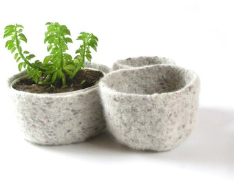 WOOLY FELTED BOWLS - three felted nesting bowls - natural tweed, brown 14*