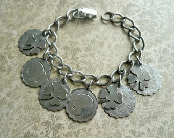 Vintage Silver Irish Charm Bracelet - Shamrocks, Boy, Girl,  Good Luck Charm, Vintage Charms