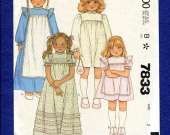 1980's McCalls 7833 Country Cottage Chic Square Yoke Dresses with Puff Sleeve for Little Girls Size 2