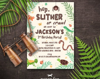 Bug and Reptile Invitation Printable - Creepy Crawly Birthday