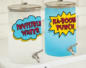Superhero Birthday Beverage Dispenser Label Printable
