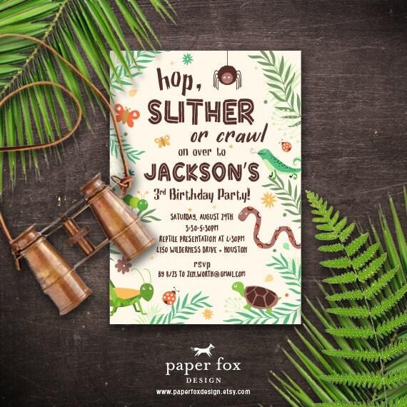 Bug and Reptile Invitation Printable Creepy Crawly Birthday
