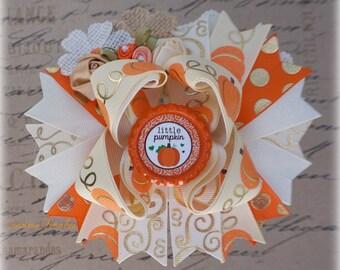 Fall Bows, Thanksgiving Hair Clip, Orange Gold Ivory Hair Bows, Pumpkin Bows