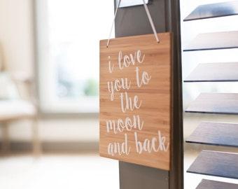 I Love you to the Moon and Back | Modern Nursery Decor | Wood Sign | Baby Decor | Baby Gift | Nursery Room