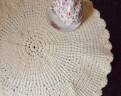 Five Large Round Placemats, Hand Crocheted Ivory Placemats