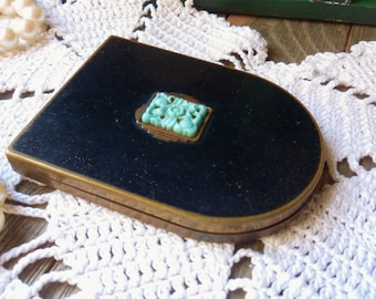 Art Deco Duet Compact, Powder Rough Double Compact, Brass Compact with Turquois Floral Medallion