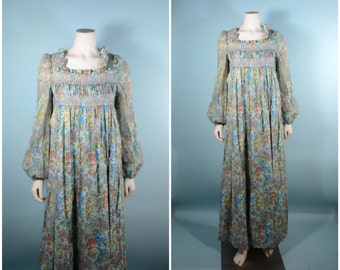 Vintage 60s Bohemian Gypsy Maxi Dress/Juliette Style Smocked RARE Vicky Vaughn /Floral Hippie Festival Concert Ruffle Boho Granny Dress SZ S