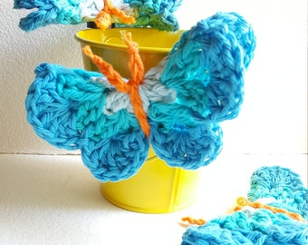 Three Crocheted Butterfly Magnets